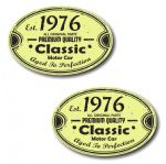 PAIR Distressed Aged Established 1976 Aged To Perfection Oval Design Vinyl Car Sticker 70x45mm Each